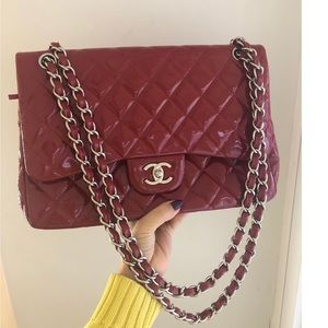 Chanel Jumbo Double Flap Paten Leather Bag
